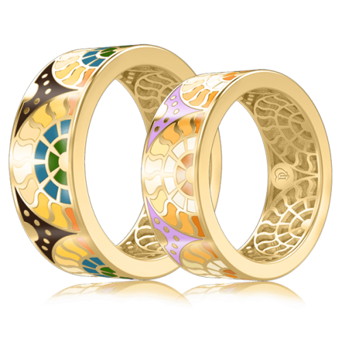 <p>Обручальное кольцо в желтом золоте со вставками: эмаль</p>  0003104