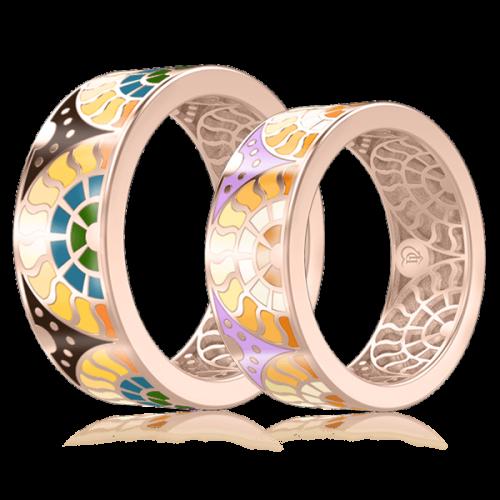 <p>Обручка в розовому золоті зі вставками: емаль</p>  0003107