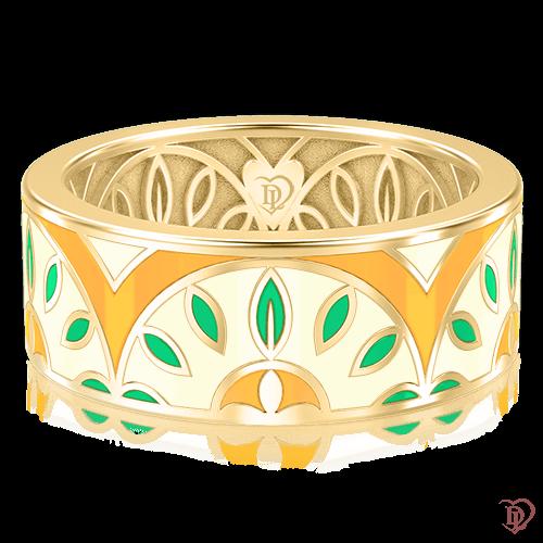 <p>Обручальное кольцо в желтом золоте со вставками: эмаль</p>  0003124