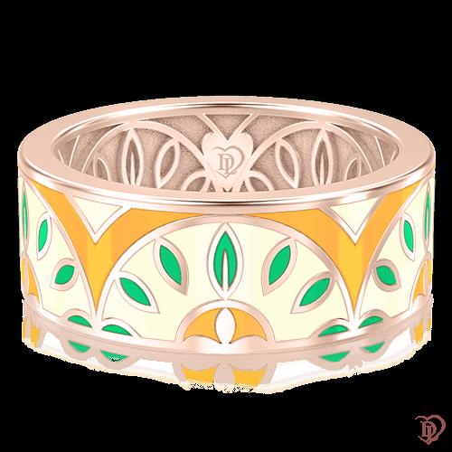 <p>Обручальное кольцо в розовом золоте со вставками: эмаль</p>  0003127