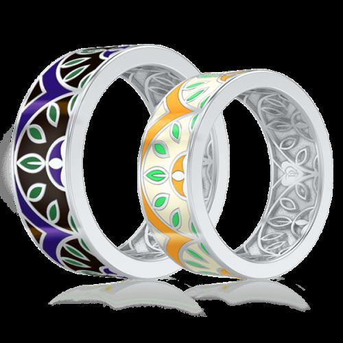 <p>Обручальное кольцо в белом золоте со вставками: эмаль</p>  0003133