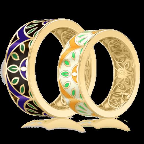 <p>Обручальное кольцо в желтом золоте со вставками: эмаль</p>  0003134