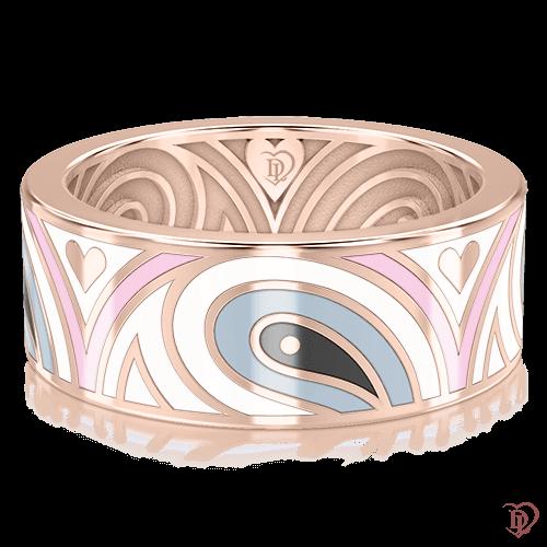 <p>Обручальное кольцо в розовом золоте со вставками: эмаль</p>  0003307