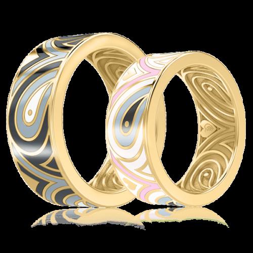<p>Обручальное кольцо в желтом золоте со вставками: эмаль</p>  0003314