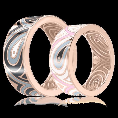 <p>Обручальное кольцо в розовом золоте со вставками: эмаль</p>  0003317