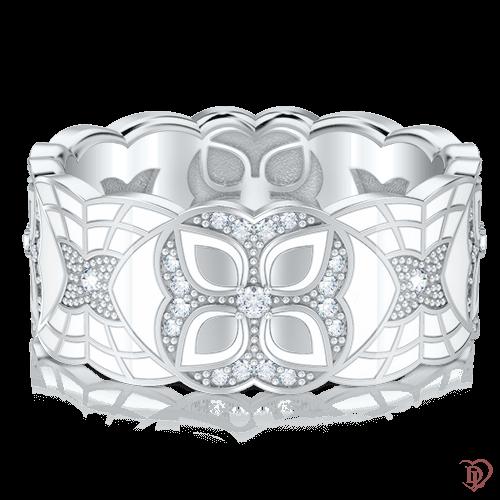 <p>Обручальное кольцо в белом золоте со вставками: бриллианты, эмаль</p>  0003353