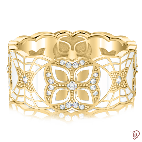 <p>Обручальное кольцо в желтом золоте со вставками: бриллианты, эмаль</p>  0003354