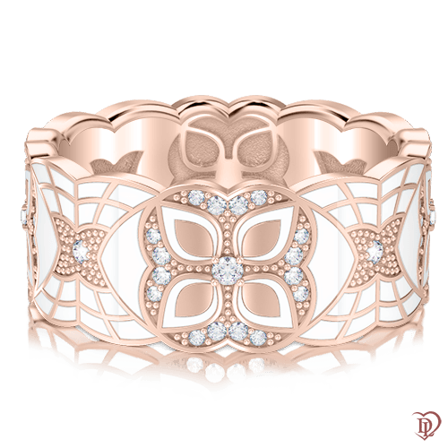 <p>Обручка в рожевому золоті зі вставками: діаманти, емаль</p>  0003357