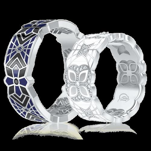 <p>Обручка в білому золоті зі вставками: діаманти, сапфіри, емаль</p>  0003363