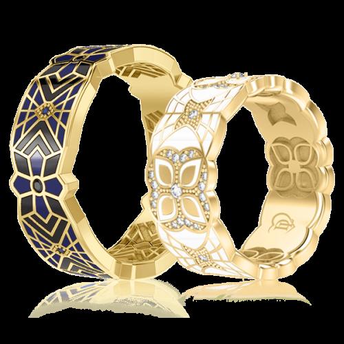 <p>Обручка в жовтому золоті зі вставками: діаманти, сапфіри, емаль</p>  0003364