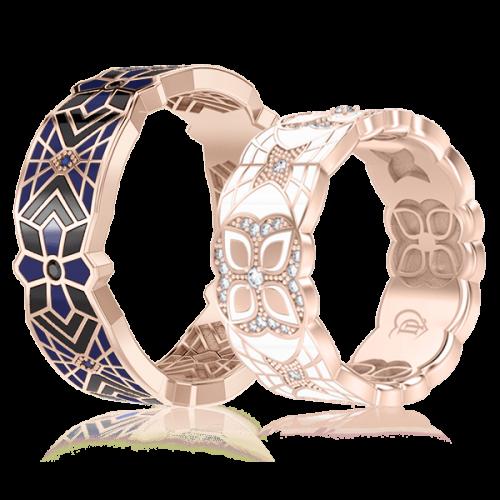 <p>Обручальное кольцо в розовом золоте со вставками: бриллианты, сапфиры, эмаль</p>  0003367