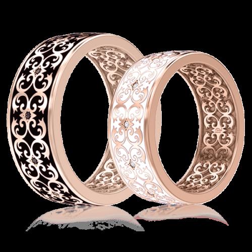 <p>Обручальное кольцо в розовом золоте со вставками: эмаль, бриллианты</p>  0003437