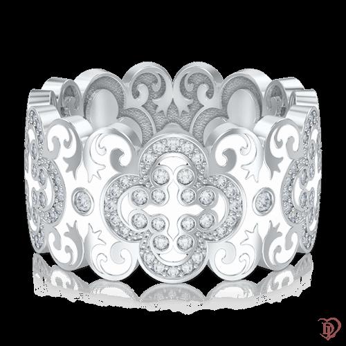 <p>Обручка в білому золоті зі вставками: емаль, діаманти</p>  0003443