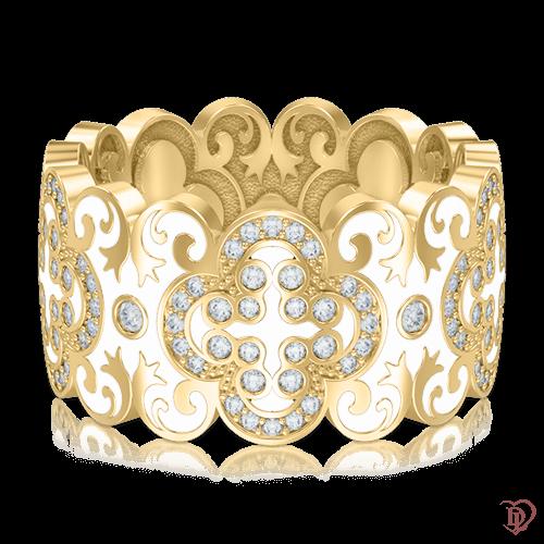 <p>Обручальное кольцо в желтом золоте со вставками: эмаль, бриллианты</p>  0003444