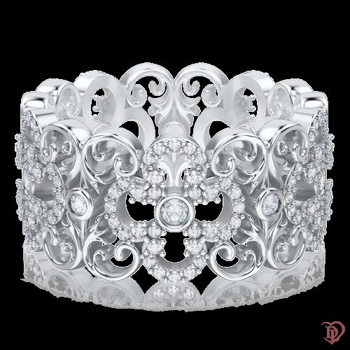 <p>Каблучка в білому золоті зі вставками: діаманти</p>  0003453