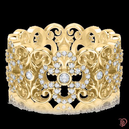<p>Кольцо в желтом золоте со вставками: бриллианты</p>  0003454
