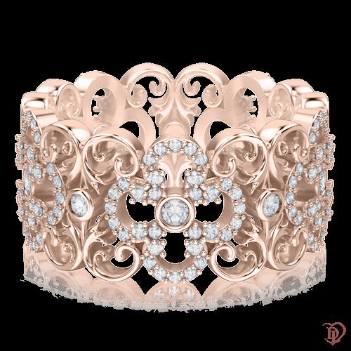 <p>Каблучка в рожевому золоті зі вставками: діаманти</p>  0003457