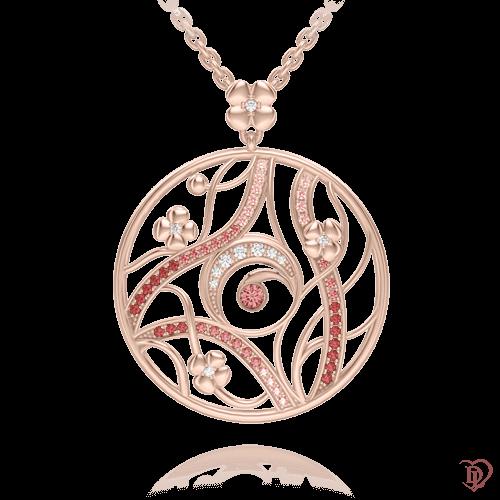 <p>Кольєв рожевому золоті зі вставками: діаманти, сапфіри</p>  0003487