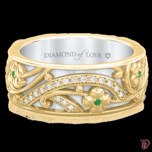 <p>Каблучка в жовтому золоті зі вставками: діаманти, смарагди</p>  0003534