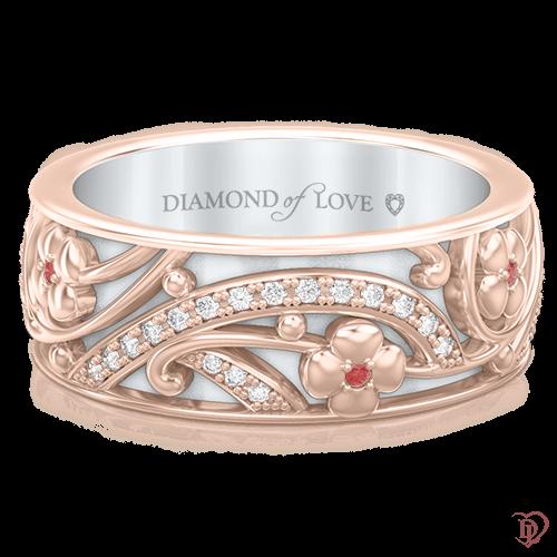 <p>Кольцо в розовом золоте со вставками: бриллианты, сапфиры</p>  0003537