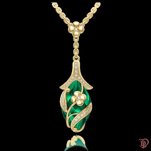 <p>Колье в желтом золоте со вставками: бриллианты, изумруды</p>  <p>Хрупкая природная красота, воплощенная в золотом колье Капля росы с изумрудами и бриллиантами, подчеркивает женскую красоту и обаяние, элегантность и чувственность, изысканность и осознанную индивидуальность. Золотое колье с драгоценными камнями - удивительное произведение ювелирного искусства и Ваш козырь, который сделает вас королевой. Сияйте на любом торжестве!</p>  0003584