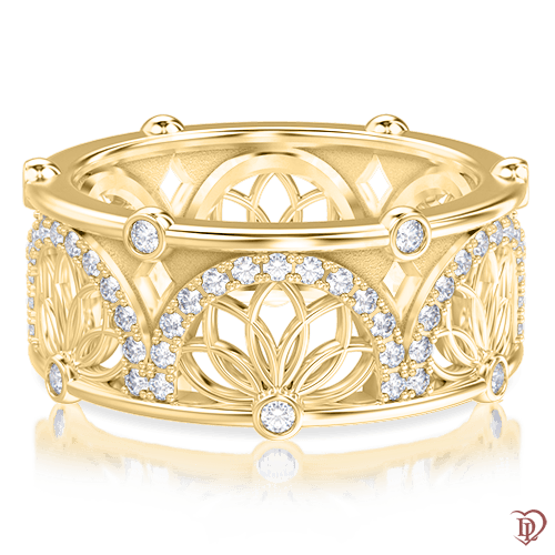 <p>Кольцо в желтом золоте со вставками: бриллианты</p>  <p>Золотое кольцо с бриллиантами Аромат солнца - оригинальное сочетание простоты и изысканности, естественности и роскоши. При малейшем движении руки, золотое кольцо, словно магнит, притягивает взгляд ярким сиянием бриллиантов. А уникальный дизайн золотой оправы подчеркивает индивидуальность своей хозяйки. Это удивительное кольцо дает возможность почувствовать себя особенной. Вожделенный объект желания для каждой представительницы прекрасного пола! Эффектно смотрится и как самостоятельное, и в комплекте с серьгами из этой же коллекции.</p>  0004014
