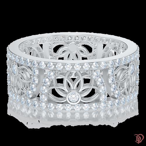 <p>Каблучка в білому золоті зі вставками: діаманти</p>  0004023