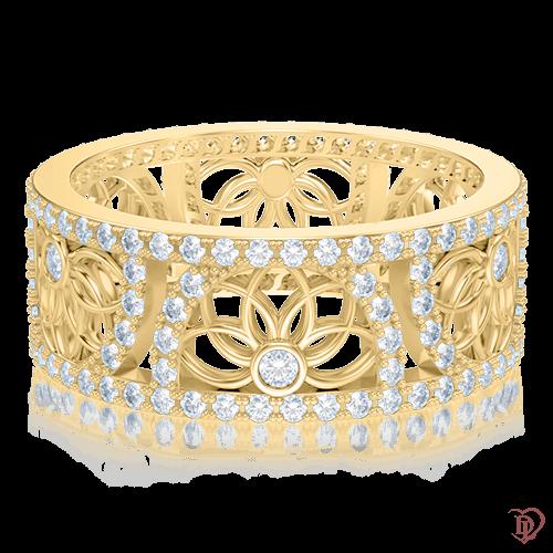 <p>Кольцо в желтом золоте со вставками: бриллианты</p>  0004024
