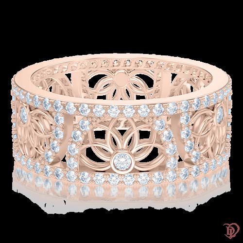 <p>Каблучка в рожевому золоті зі вставками: діаманти</p>  0004027