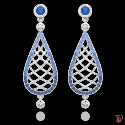 <p>Сережки в білому золоті зі вставками: діаманти, сапфіри</p>  0004033