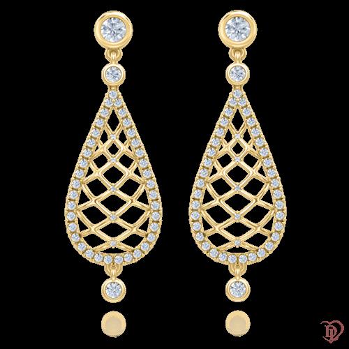 <p>Серьги в желтом золоте со вставками: бриллианты</p>  0004034