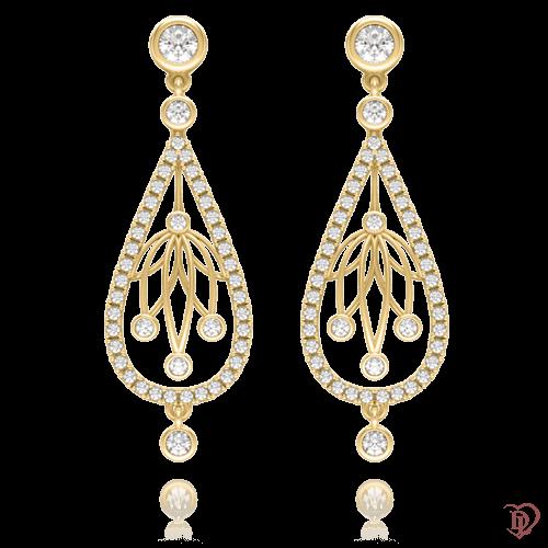 <p>Сережки в жовтому золоті зі вставками: діаманти</p>  0004094