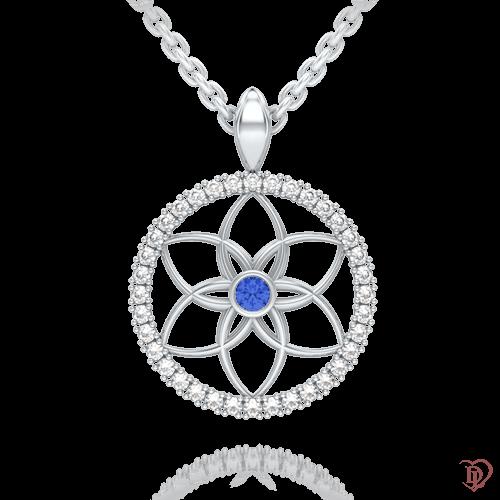 <p>Підвіс в білому золоті зі вставками: діаманти, сапфіри</p>  0004103