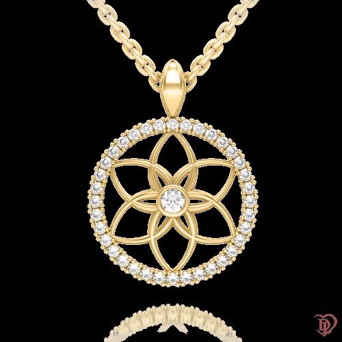 <p>Подвес в желтом золоте со вставками: бриллианты</p>  0004104