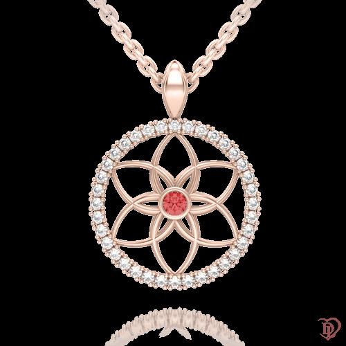 <p>Підвіс в рожевому золоті зі вставками: топази, рубіни</p>  0004107