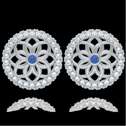 <p>Сережки в білому золоті зі вставками: діаманти, сапфіри</p>  0004133