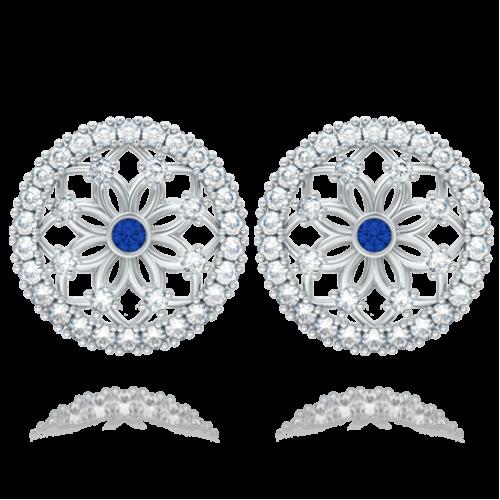 <p>Сережки в білому золоті зі вставками: діаманти, сапфіри</p>  0004143