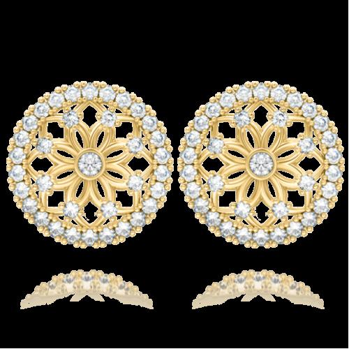 <p>Сережки в жовтому золоті зі вставками: діаманти</p>  0004144
