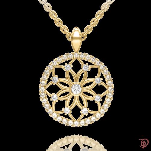 <p>Підвіс в жовтому золоті зі вставками: діаманти</p>  0004154