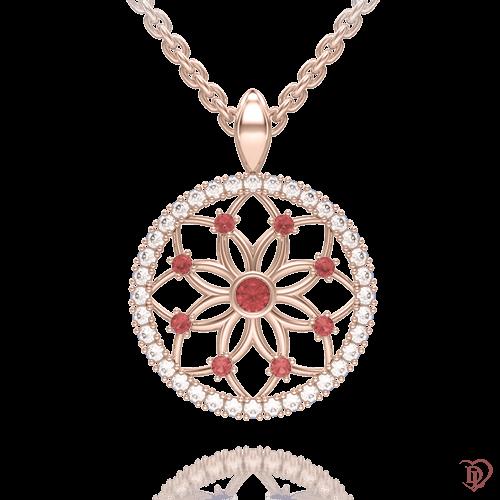 <p>Підвіс в рожевому золоті зі вставками: топази, рубіни</p>  0004157