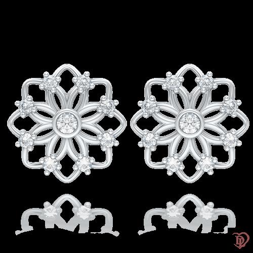 <p>Сережки в білому золоті зі вставками: діаманти</p>  0004233