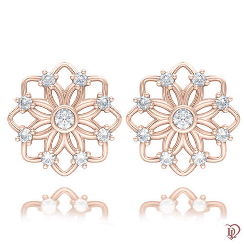 <p>Сережки в рожевому золоті зі вставками: топази</p>  0004237