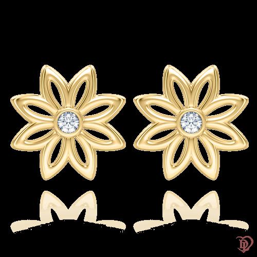 <p>Сережки в жовтому золоті зі вставками: діаманти</p>  0004244