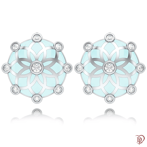 <p>Сережки в білому золоті зі вставками: діаманти, емаль</p>  0004433