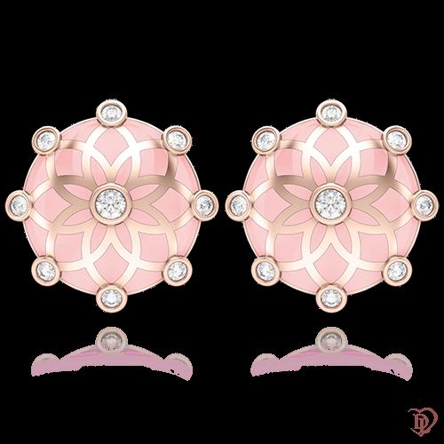 <p>Сережки в рожевому золоті зі вставками: топази</p>  0004437