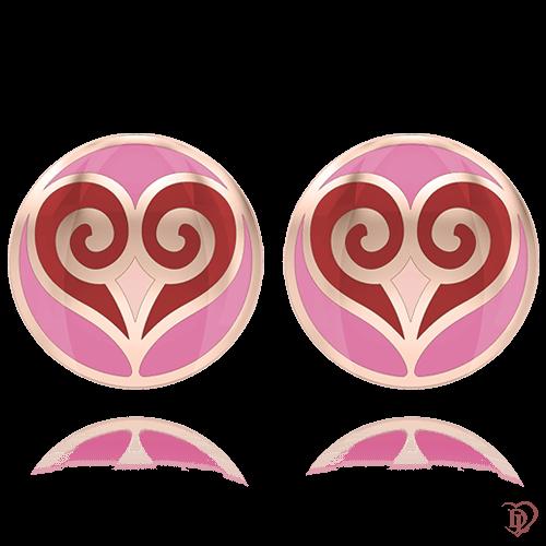 <p>Сережки в рожевому золоті зі вставками: емаль</p>  0004657
