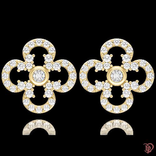 <p>Серьги в желтом золоте со вставками: бриллианты</p>  0004664