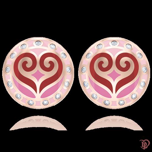 <p>Сережки в рожевому золоті зі вставками: діаманти, емаль</p>  0004727