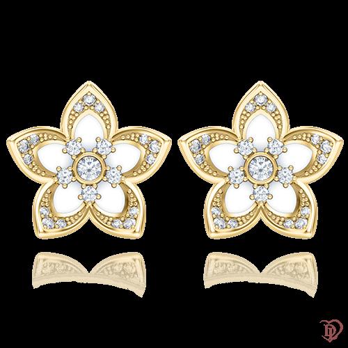 <p>Сережки в жовтому золоті зі вставками: емаль, діаманти</p>  0004734