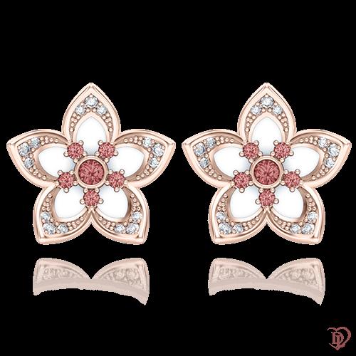 <p>Сережки в рожевому золоті зі вставками: емаль, діаманти, сапфіри</p>  0004737